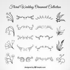 wedding floral ornament set free vectors ui