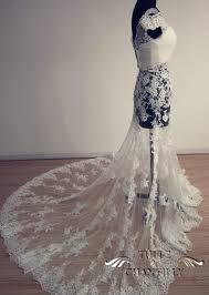 custom wedding dress process show time custom the shoulder lace applique