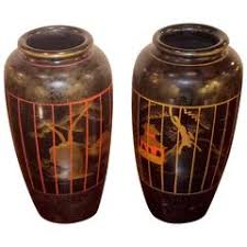 Wood Vases For Sale Japanese Hand Painted Lacquered Wood Vase Showing Fantail Goldfish