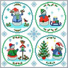 snowy cross stitch pattern ornaments
