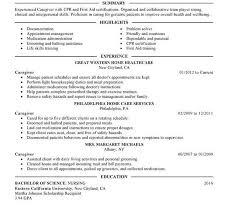 Resume For Caregiver Caregiver Resume Samples Cbshow Co