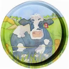 Sarah J Home Decor Cow Farm Animal Emma Ball Round Tray From Sarah J Home Decor