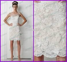 Informal Wedding Dresses 2017 Short Sheath White Lace Bridal Gowns Sheer Jewel Neck