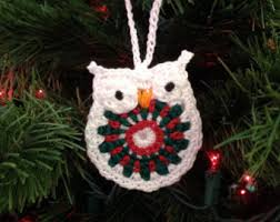 owl ornament in green and white set of three