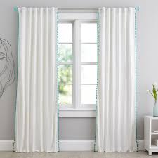 Grey And Lime Curtains Pom Pom Blackout Drape Pbteen