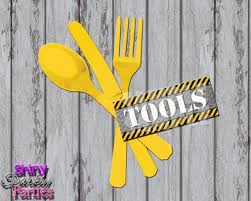 Construction Party Centerpieces by Construction Tools Tags Construction Silverware Tags