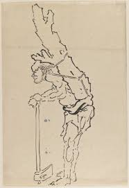 file brooklyn museum drawing of man resting on axe and carrying