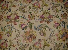 Jacobean Floral Curtains Curtain Fabric Upholstery Fabric Jacobean Tapestry Teastain
