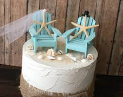 beach wedding cake topper destination bride and groom mint