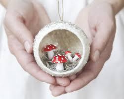 diorama ornament with spun cotton mushrooms mica and german
