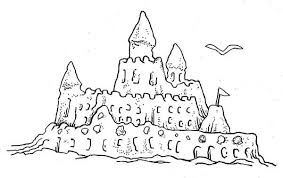 Drawn Shell Sandcastle Pencil And In Color Drawn Shell Sandcastle Sandcastle Coloring Page