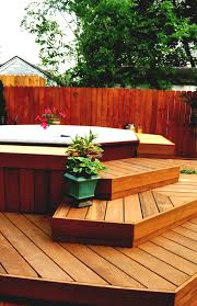 backyard patio ideas with tub and outdoor living furniture