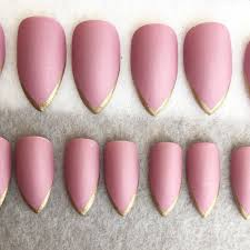 deep pink matte faux nails gold tips stiletto nails fake