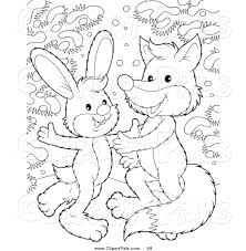 pal clipart of a coloring page outline design of a rabbit and fox