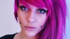colored nose rings images Women colored hair closeup nose rings piercing dyed hair jpg