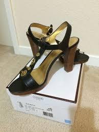 coach black lalo soft port leather sandals size 10 ebay