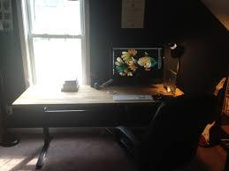 geekdesk with custom ikea top height adjustable standing desk