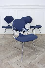 Herman Miller Padded Blue Vintage Chair Wire Chairs By Charles U0026 Ray Eames For Herman Miller 1950s