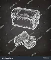 chalk sketch toast bread on blackboard stock vector 693892081