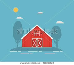 red barn flat illustration background download free vector art