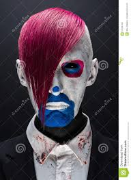 halloween jacket clown and halloween theme scary clown with pink hair in a black