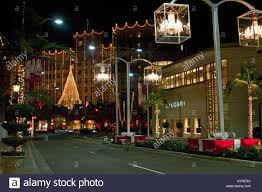 beverly hills christmas lights night view of rodeo drive with holiday lights beverly hills los