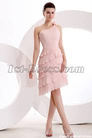 Dusty Rose Wedding Dress Elegant Dusty Rose One Shoulder Short Bridesmaid Dress 1st Dress Com