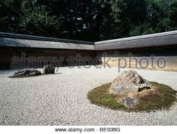 rock garden of the ryoanji zen temple in karesansui type kyoto