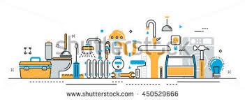 flat line vector design concept plumbing stock vector 450529666