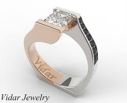 princess cut gold engagement rings princess cut two tone gold engagement ring vidar jewelry