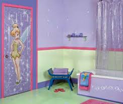 bathroom kid bathroom design with purple nuance and tinker bell
