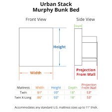 urban stack murphy bunk bed dimensions camper pinterest beds