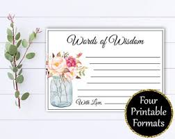 bridal shower words of wisdom cards words of wisdom etsy