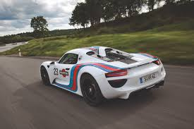vintage porsche racing 918 spyder prototype in vintage martini racing design racing in