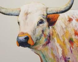 longhorn steer art print texas longhorn art print longhorn