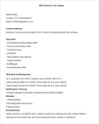 Summary For Fresher Resume Bpo Resume Template U2013 22 Free Samples Examples Format Download