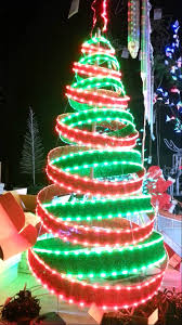 green spiral lighted tree christmas red and green led ribbon tree rare youtube