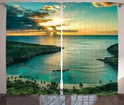 aqua curtains hawaiian decorations by ambesonne sunrise over