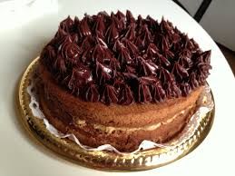 chocolate chiffon cake with salted caramel butter cream in