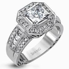 princess cut halo engagement ring simon g 18k gold princess cut halo engagement ring