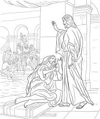jesus heals the man at the pool of bethesda coloring page biblie