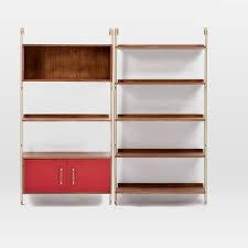 linden mid century wall shelf set with storage west elm