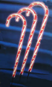pack of 3 lighted candy cane pathway markers outdoor christmas