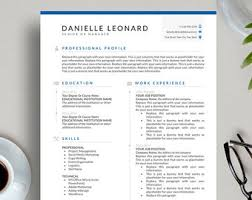 clean modern resume design administrative assistant executive resume etsy