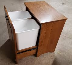 tips wooden dustbin built in garbage cans kitchen tilt out
