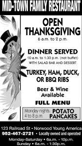 open thanksgiving mid town family restaurant