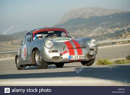 old racing porsche silver 1964 porsche 356 classic sports car racing in the mallorca