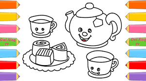 how to draw tea set chocolate finger family song coloring pages