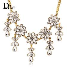 gold plated statement necklace images Vintage bohemia chandelier clear rhinestone flower gold plated jpg
