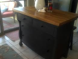 kitchen island made from an old empire dresser u0026 butcher block